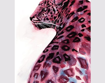Pink and Blue Leopard Print from watercolor painting original