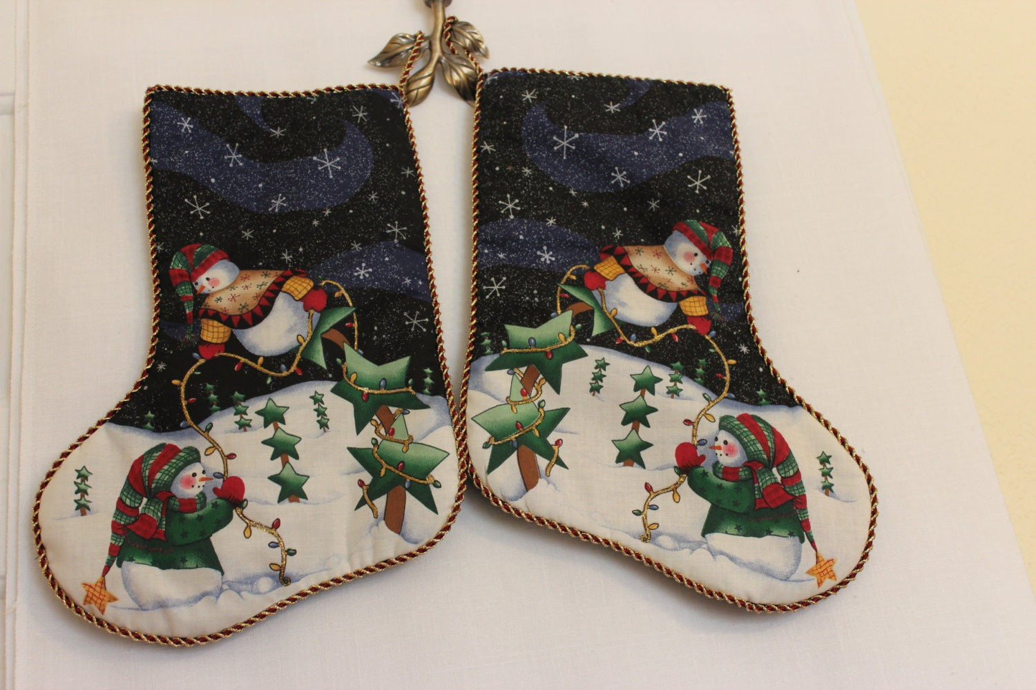 Handcrafted Unique Christmas Stocking Snowmen Decorating A