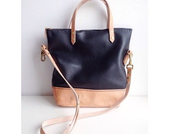 Large Two Tone Leather Bucket Bag/Purse