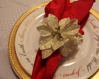 Gold Poinsettia Napkin Ring