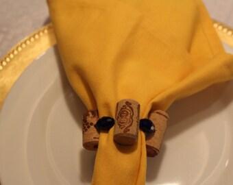 Wine Cork / Blue Bead Napkin Ring
