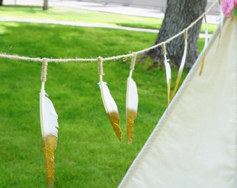 Extra long Golden tip feather banner- teepee topper