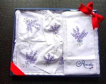 Lavender embroidered linen gift set