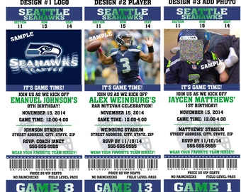 Printable Birthday Party Invitation Card Seattle Seahawks Birthday Ticket Invitation Card Seattle Seahawks Tickets Invitation Football