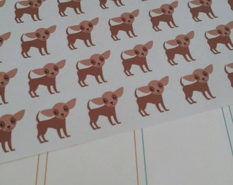 Brown Chihuahua Stickers! Dog Stickers! Perfect for your Erin Condren Life Planner, calendar, Paper Plum, Filofax!