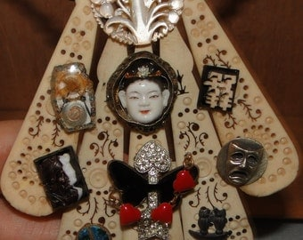 Altered Art Steampunk collage figural charm necklace One of a Kind Goddess