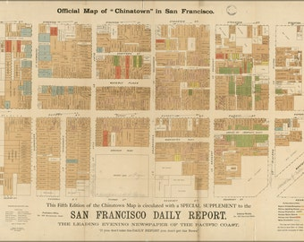 24x36 Poster; Official Map Of Chinatown In San Francisco 1885