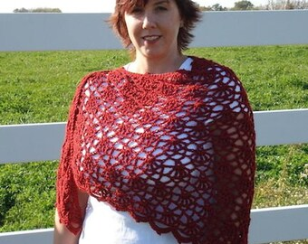 Spanish Rose Shawl Crochet Pattern | Crocheted Shawl | Crocheted Wrap | Women's Fashion | Scarf | Accessory