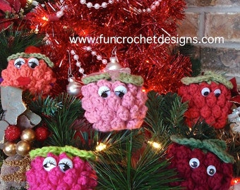 Berry Buddies and Berry Ornaments Crochet Pattern | Christmas Ornament | Character | Toy | Amigurumi | Crochet | Holiday Decorating