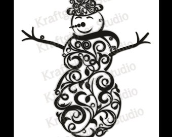 Swirly Snowman SVG Christmas SVG Instant download Commercial USE, for cricut explore silhouette cameo and other cutters.