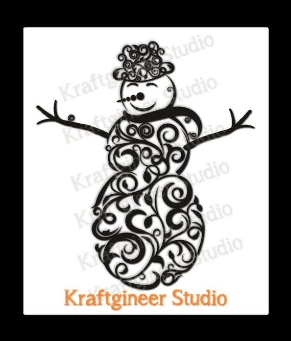 Swirly Snowman SVG Instant download Commercial Use, works on cricut ...