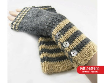 Long Stripe Fingerless Gloves - Hand warmers Downloadable knitting