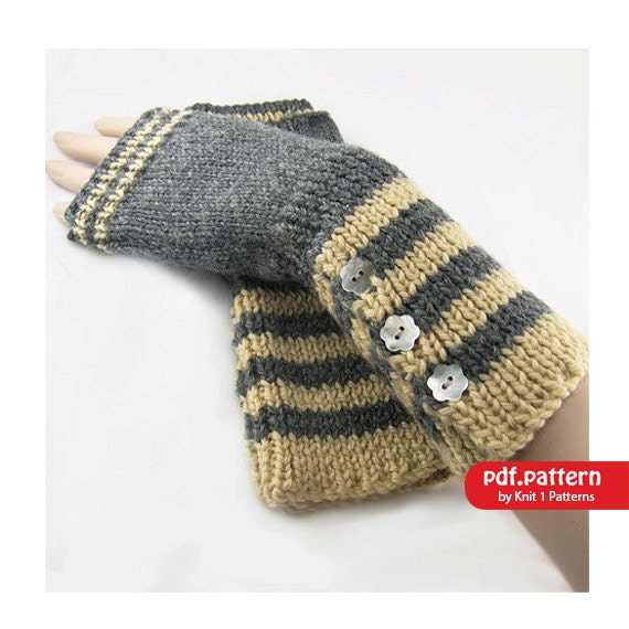 Hobo Gloves Knitting Pattern : Long Stripe Fingerless Gloves Hand warmers Downloadable
