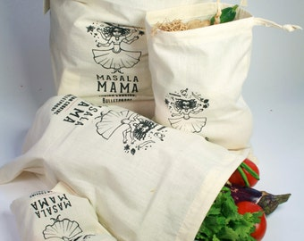 Produce Bags by Masala Mama (set of 4) - Unbleached Organic Cotton