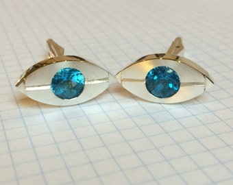 Blue Topaz and Sterling Silver Cufflinks