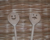 Set of TWO Funny Wooden Spoons, Funny Wooden Spons, Wooden Spoons, Kitchen Accesories, Rustic Kitchen, Wooden cooking spoon