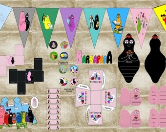 BIRTHDAY kit Barbapapa DIY PRINTABLE tea party or birthday.. .digital digital printable instant download