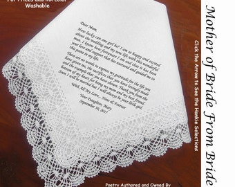 Mother of the Bride Handkerchief  0109 Sign & Date for Free!   5 MOB Wedding Hankerchief Styles and 8 Ink Colors. Personalized Hankies.