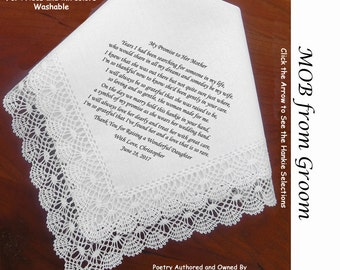 Mother of the Bride Gift Hankie From Groom  0101 Sign and Date for Free!   5 MOB Wedding Hankerchief Styles and 8 Ink Colors.