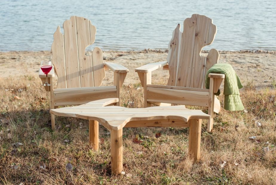 Michigan Adirondack Chair Set With Upper By Michiganstudio On Etsy
