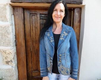 Vintage denim / jeans jacket with gold lace pattern