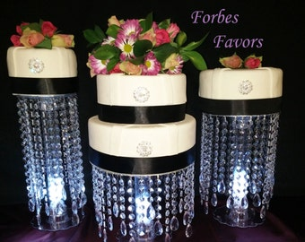 "Set of 3 Enchanting Crystal Cake Stands 6"" - 12"" Tall"