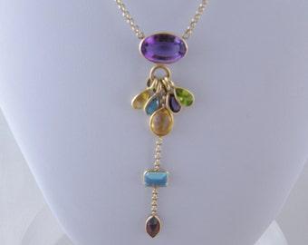 Vintage 14 Kt Gold Gemstones HARLEQUIN STYLE Necklace