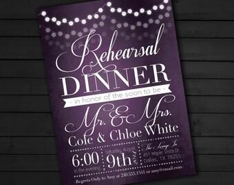 Elegant Lantern Lights Purple Rehearsal Dinner Invitation, Engagement Party Invite Wedding