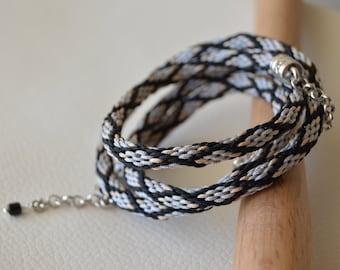 Kumihimo cord bracelet Japanese braided bracelet Black silver friendship bracelet Wrap ornamented bracelet Grey multistrand bracelet