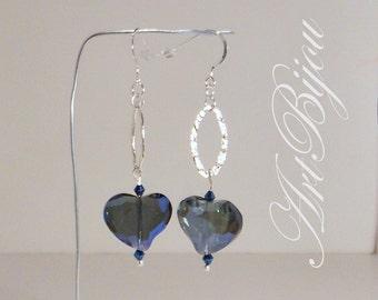 Silver Earrings, Crystal Earrings, Heart Earrings, Blue Earrings, Dangle Earrings, Long, Gift Her, Women Gift, Gift Idea, Valentines Gift