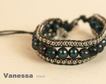 Bracelet Freshwater Pearl blue/grey
