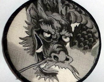 Vintage Japanese Fabric Brooch - B/W Dragon