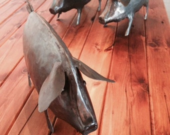 Metal Pig/Piglet Sculpture