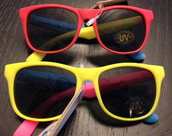 Set of two neon multicolor Coppertone Junior Adult sunglasses-vintage 90s