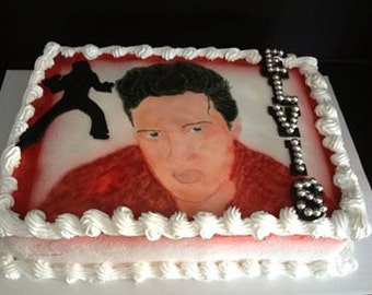 Sugarpaste Elvis Cake Topper, Silhouette and Name Bling!