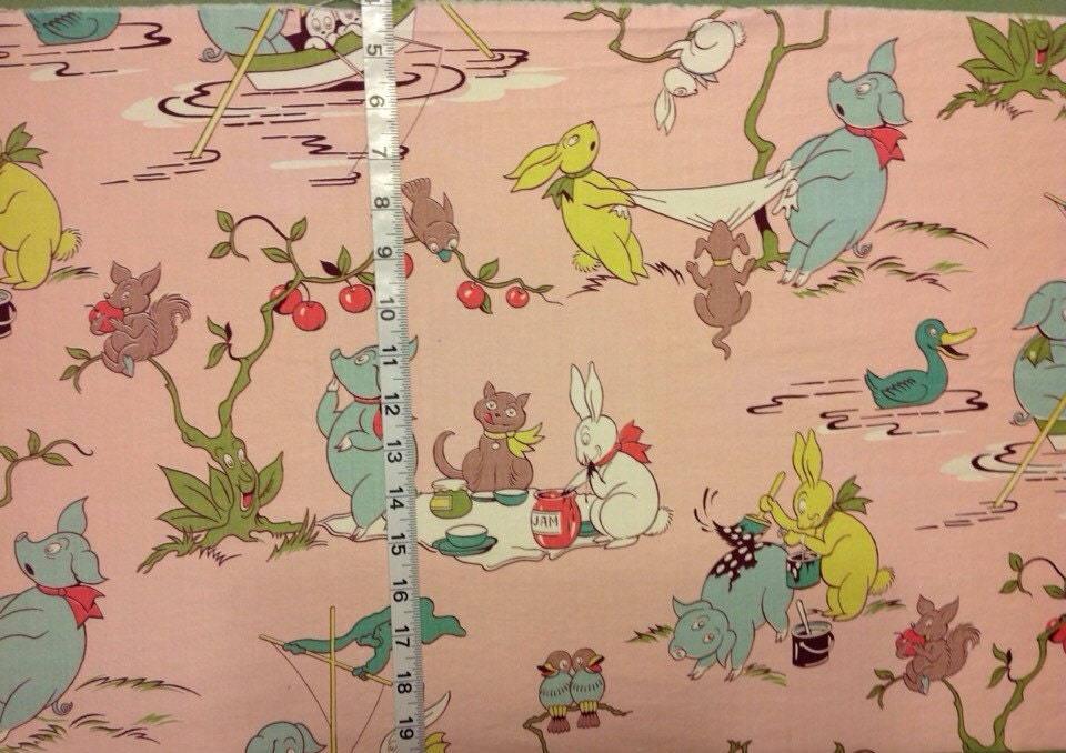 Vintage nursery print fabric by debirecycles on etsy for Nursery print fabric