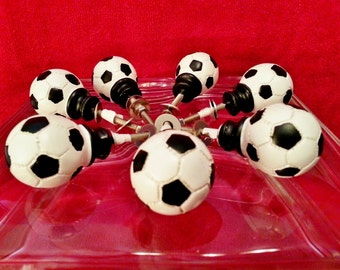 Set 6 SOCCER BALL Sports  Knobs Handle Pull Child, Kid, Boys