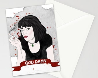 God Damn Pulp Fiction Mia Wallace Greeting Card Blood Quentin Tarantino Movie Quote Film