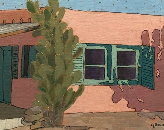 """Original Oil Painting, size 9""""x12"""", titled """"Pink House with Stars"""""""