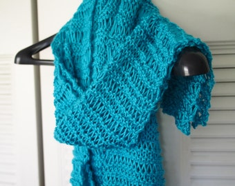 Handmade drop-stitch knit scarf in Blue Mint color