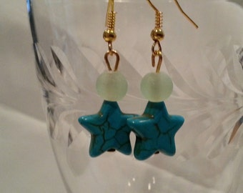 Turquoise and Sea Glass Earrings    EA202
