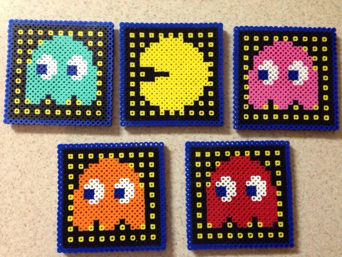 pacman coasters set of 5 perler bead coasters