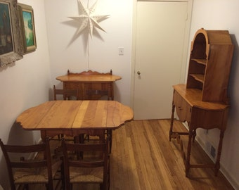 Antique Apartment Sized 7 Piece Wood Dining Set