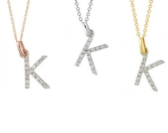 Tousi Jewelers Diamond Letter Necklace -K Alphabet Pendant -Solid 14K Gold- Gold Letter Necklace- 0.08 CT White Color Stone-Initial Jewelry