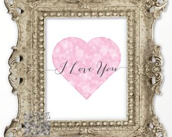 Love Art Typographic Print Heart Art Heart Print Love Illustration Heart Illustration Wall Art Digital Print Love Card : A0162 37 pink