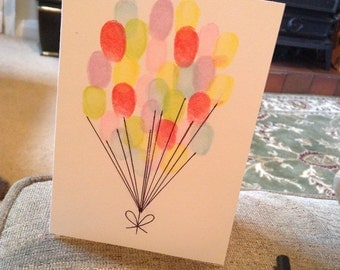 Fingerprint balloon birthday card