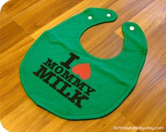 Green Baby Bib - Recycled Tshirt Bib, Breastfeeding, Nursing, I Love Mommy Milk