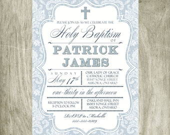 Baptism First Communion Confirmation Invitation Personalized Printable Digital 5x7 file