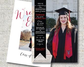 Classic Graduation Announcement: Script, Timeless, Banner, Graduation, Digital File, Personalized, Double-Sided