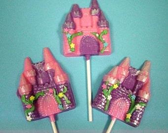 12 Princess Castles chocolates lollipops